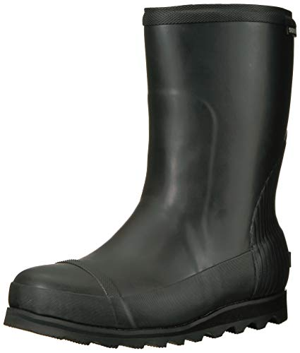 Sorel Women's JOAN Short Rain Boot, Black, Sea Salt, 5 B(M) US