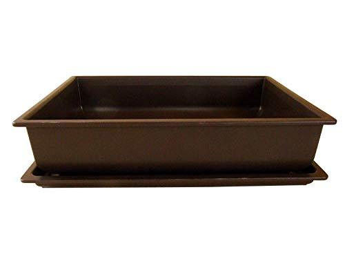 Bonsaischale aus Kunststoff mit dunkelbraunem Untersetzer Länge: 40cm - Breite: 30cm - Höhe: 10cm eckige Form
