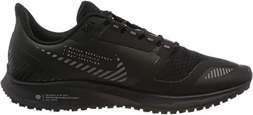 Nike Men's Air Zoom Pegasus 36 Shield Running Shoes, Black/Black/Metallic Silver, 10.5 D (M)
