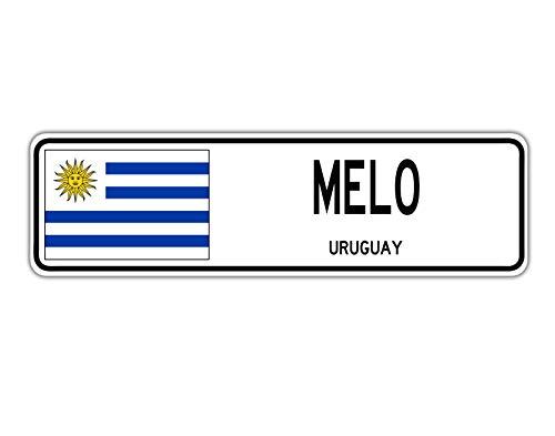 TNND New Melo Uruguay Straßenschild, Uruguaya-Flagge, City Country Road Wall Street Sign 10,2 x 40,6 cm
