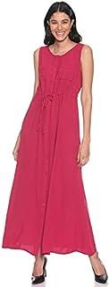Andiamo Fashion Button-Down Tie-Waist Sleeveless A-Line Maxi Dress for Women L