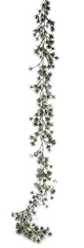 Flair Flower Tannengirlande mit Kunstschnee Kette Künstliche Deko Girlande geeist für Kamin Treppe Tanne Lärche Weihnachtsgirlande Tisch Tür Weihnachtsdeko X'Mas, grün/weiß, 180x11x3 cm