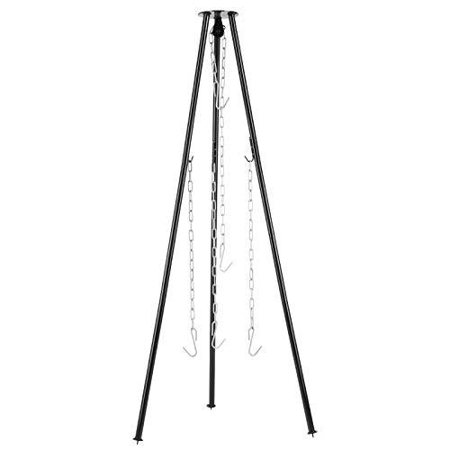 femor Dreibein, Dreibein Grill mit 4 Kette & 3 Haken, 70x70x131cm, Höhenverstellbare Kette, Dreibein-Gestell für Gulaschkessel, Dutch Oven, Schwenkgrill & Grillrost, Tragfähigkeit bis 10 kg