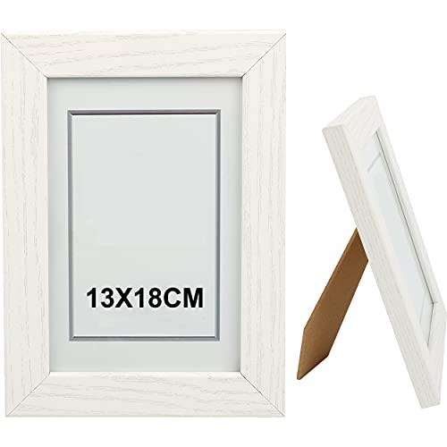Bilderrahmen, 13 x 18 cm, Weiß, aus Holz, Glasplatte, Fotorahmen für Dekoration