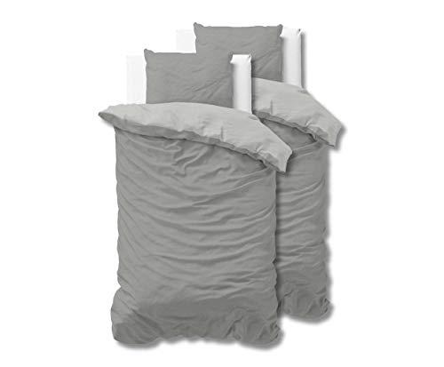 SLEEP TIME 100% Baumwolle Bettwäsche 135cm x 200cm 4teilig Grau/Anthrazit - weich & bügelfrei Bettbezüge mit Reißverschluss - zweifarbiges Bettwäsche Set mit 2 Kissenbezüge 80cm x 80cm