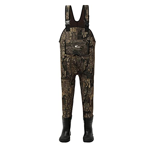 8 Fans Kids Chest Waders with Boots,Neoprene Waterproof Insulated Hunting & Fishing Waders for Boys and Girls Youth, Cleated Bootfoot Kids Wader, Realtree Timber Camo