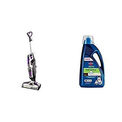 BISSELL Crosswave Pet Pro All in One Wet Dry Vacuum Cleaner,2306A and Bissell 2295L Multi-Surface Pet Formula with Febreze Feshness for Crosswave and Spinwave (80 oz)