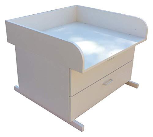Wickeltisch Badewanne Holz mit zwei Schubkästen, passend bis Wickelauflage Größe (T/B) 55 x 75 cm