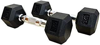 Black Rubber Hex Dumbbells Gym Hexabell (Pair) Weight Set Solid Dumbbell yoga band
