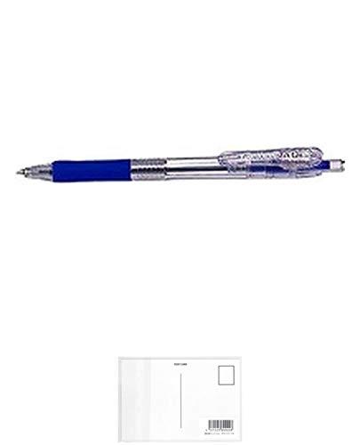 ゼブラ タプリクリップ ボールペン0.5 青 BNS5-BL 3個セット + 画材屋ドットコム ポストカードA