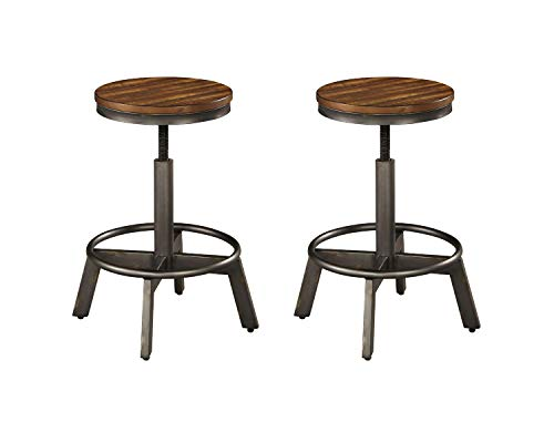 Signature Design by Ashley Torjin Adjustable Height Bar Stool Set of 2, Brown and Gray