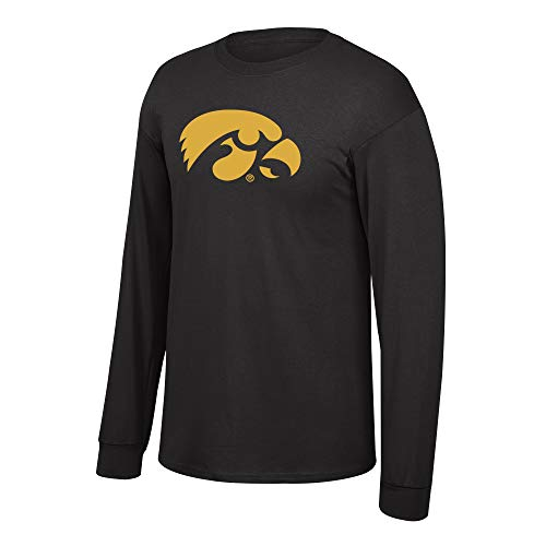 Elite Fan Shop NCAA Mens Iowa Hawkeyes Long Sleeve Shirt Dark Heather Back Iowa Hawkeyes Dark Heather Medium