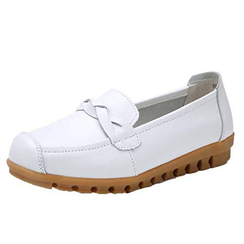 Zapatos de Cuero para Mujer, Planos, Fondo Suave, otoño, Primavera, Mocasines, Ocio, Boca Baja, Punta Redonda, Zapatos de Trabajo Individuales