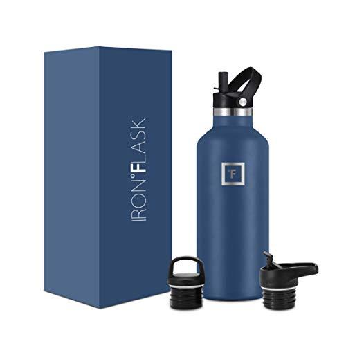 IRON °FLASK Botella de Agua para Deportes de Boca Estrecha - 32 oz, 3 Tapas (Tapa de Paja), Acero Inoxidable con Aislamiento al vacío, frío Caliente, Moderno de Doble Pared, Taza Termo Simple
