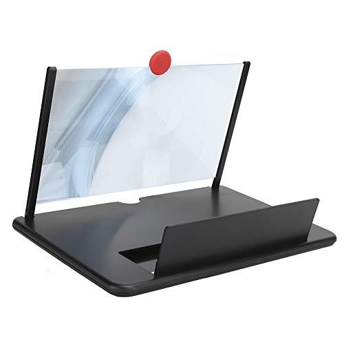 Amplificador de Video de películas, Lupa de Pantalla de teléfono, 12 Pulgadas, Juegos de Videos en 3D para películas, visualización de películas, Pantalla de teléfono móvil(12 Pulgadas Negro)