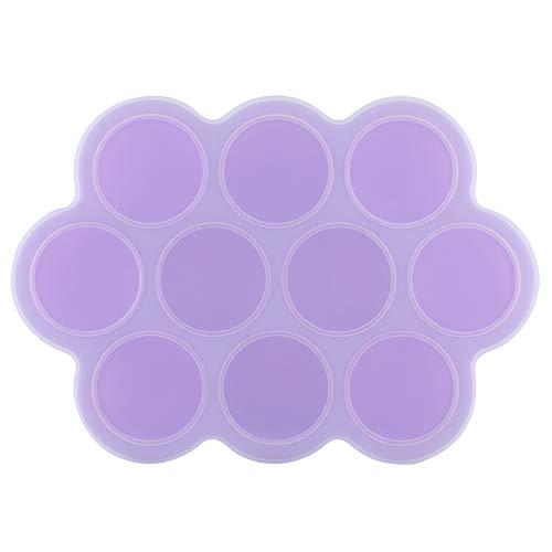 Molde para congelador de alimentos, 10 agujeros individuales, contenedor reutilizable, bandeja de silicona para congelador de alimentos para uso doméstico, para bandejas de cubitos de hielo(purple)