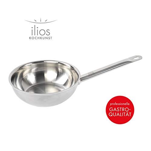 ILIOS Kochkunst Sauteuse Mehrschicht, 24 cm, unbeschichtet, induktionsgeeignet, aus Edelstahl