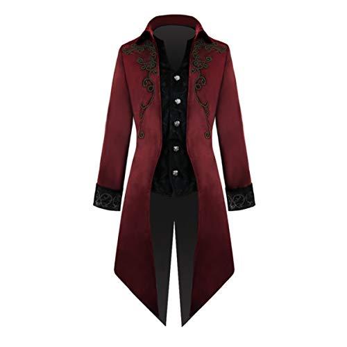Yan Dream Men's Gothic Steampunk Tailcoat Jacket Velvet Victorian Costume Adult (X-Large, Red)