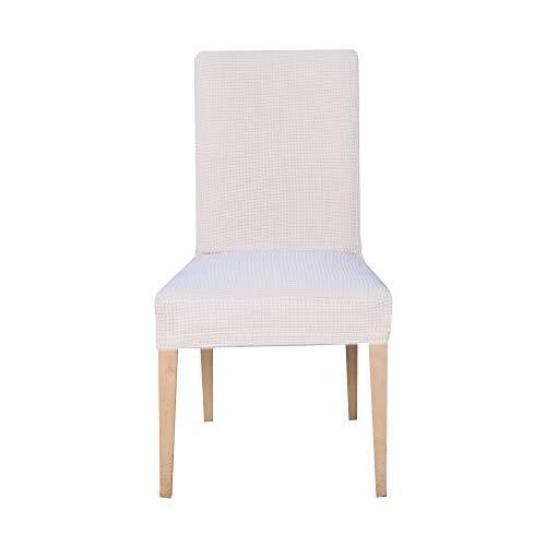 E EBETA Jacquard Fundas para sillas Pack de 6 Fundas sillas Comedor Fundas elásticas Cubiertas para sillas,bielástico Extraíble Funda, Muy fácil de Limpiar (Blanco Marfil, 6 Piezas)