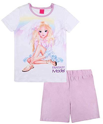 Top Model niñas Ropa de Dormir, Pijama, Sleepwear, Set: T-Shirt, Camiseta y Shorts, Rosa, Talla 128, 8 años