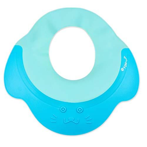 Shampoo Schutz für Kinder, für 0-9 Jahre, Haare waschen ohne Tränen, zum Überstülpen, 100% wasserdicht, weiche Silikonhaut, Augenschutz und Ohrenschutz, Haarwaschhilfe Baby, Kinder Duschkappe, blau