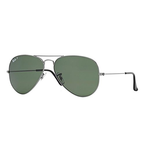 Ray-Ban RB3025, Gafas de Sol Unisex Adulto, Gris (frame: Gunmetal, lenses: Green polarized 004/58), Large