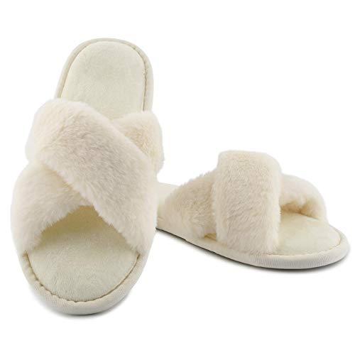 LARGERED Pantuflas de Pelo para Mujer, esponjosas Cruzadas con Plantillas Suaves y acogedoras de Espuma viscoelástica Blanco,38/39 EU