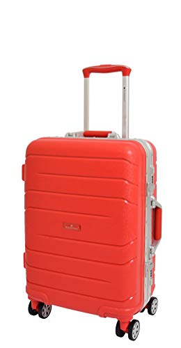 Cabin Size Exclusive Metal Frame 4 Wheel Hand Luggage Hard Shell Suitcase Travel Bags Teryton Red