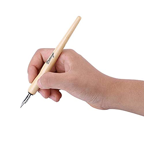 Juego de bolígrafos de cómic, 3 puntas + 1 soporte de madera + 1 tinta de caligrafía para dibujos, suministros de arte escolares