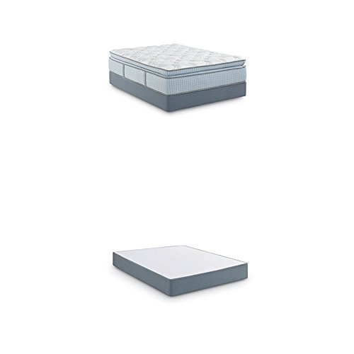 Review Scott Living By Restonic Falkland Super Pillow Top Bed Mattress and 5″ Low Profile Foundation, Hybrid, Queen, White