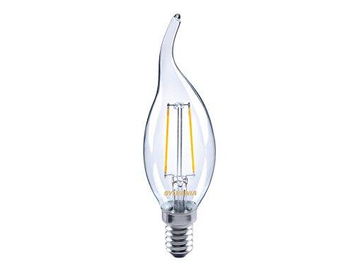 Sylvania SYL0027184 Ampoule Toledo Flamme, Bougie à Bout courbé/tordu Retro Cande 250 lumens culot E14-blister, Aluminium, Blanc
