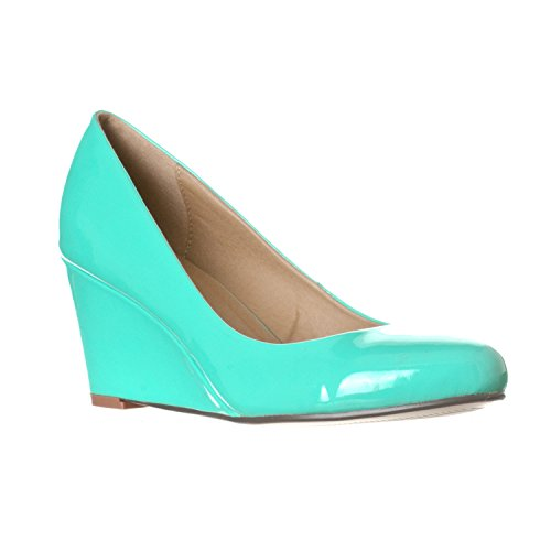 Riverberry Women's Leah Mid Heel Round Toe Wedge Pumps, Mint Patent, 8