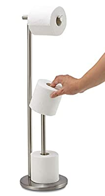Free Standing Toilet Paper Holder Stand with Reserve, Bathroom Tissue Dispenser Paper Roll Storage Holder Stand for Jumbo Roll, Stainless Steel Rustproof Brushed Nickel, DECULTTR