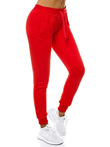 OZONEE Damen Jogginghose Hose Trainingshose Sporthose Freizeithose Motiv Damenhose Fitnesshose Sweathose Sweatpants Fußballhose Joggpants JS/CK01 ROT L