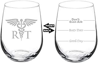 Wine Glass Stemless Laser Etched Two Sided Rt Rad Tech Radiologic Technologist - 11 Oz