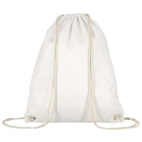 Turnbeutel unbedruckt aus Baumwolle 12 Farben verfügbar Sportbeutel (weiß)