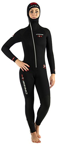 Cressi Diver all-in-One Lady, Muta Monopezzo Neoprene Bifoderato 7 mm Donna, Nero/Rosso 7mm, M/3