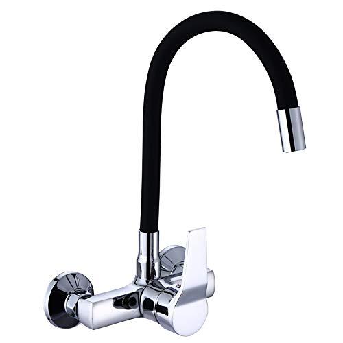 ZXC Wandarmatur für Küche, Bad oder Keller, Einhandmischer mit flexiblen schwarzen Auslauf