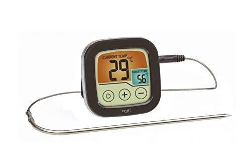 TFA Dostmann Digitales Grill- und Bratenthermometer, 14.1509.01, BBQ Thermometer, zum Grillen & im Backofen, mit farbigem Touchdisplay, Kunststoff, schwarz