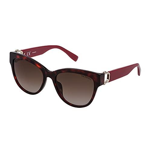 Trussardi Gafas de sol STR433 0L95 56 – 18 – 140 para mujer, color rojo brillante, lentes marrón degradado