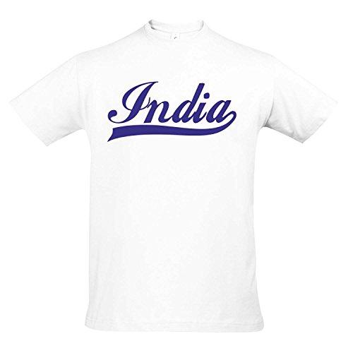 T-Shirt - India Oldschool Indien LÄNDERSHIRT EM/WM Fan Trikot S-XXL, White - blau, M