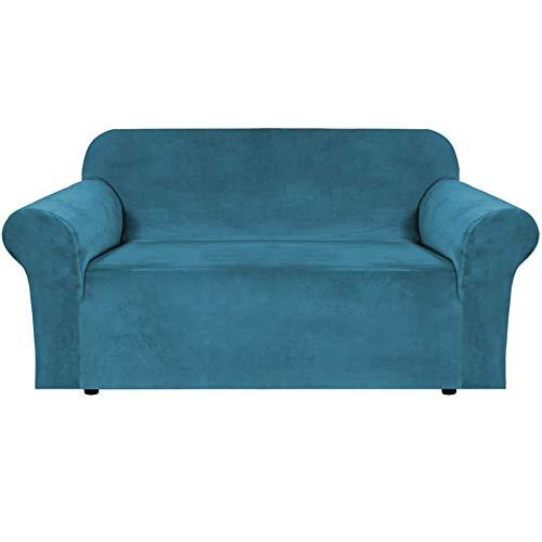 XDKS Copridivano in velluto elasticizzato, realizzato in velluto spesso e confortevole, per 3 cuscini, copridivano con cinghie antiscivolo sotto i mobili (2 posti/Loveseat, blu pavone)
