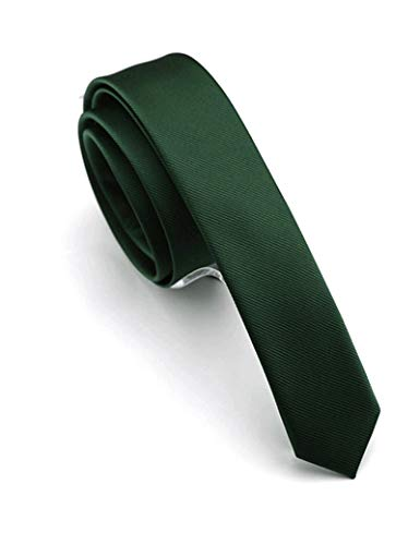 "JEMYGINS 1.58"" Green Tie Silk Skinny Ties for Men Slim Necktie(4cm)"