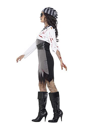 Smiffys Costume Lady pirata zombie, grigio, con abito, foulard e benda per occhio