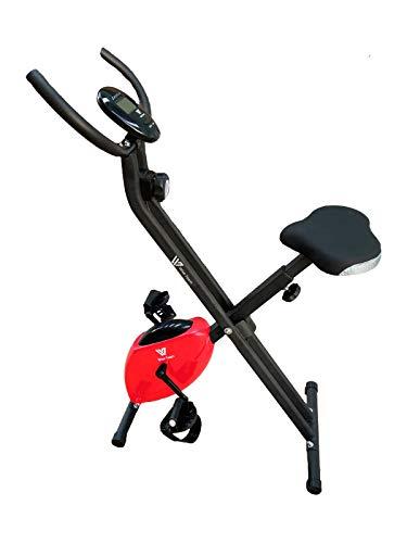 HANKING PLANET Bicicleta estatica Plegable de Resistencia magnética, Bicicleta Plegable Spinning 8 Niveles de Intensidad, Pantalla LCD, Velocidad, calorias, Distancia. (Roja)