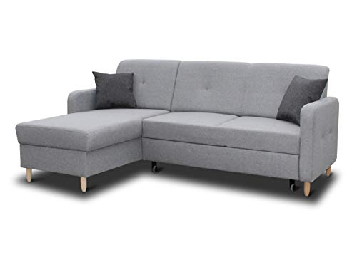 Ecksofa Oslo mit Schlaffunktion und Bettkasten - Scandinavian Design Couch, Sofagarnitur, Couchgarnitur, Polsterecke, Holzfüße (Grau (Inari 91 + Inari 94), Ecksofa Links)