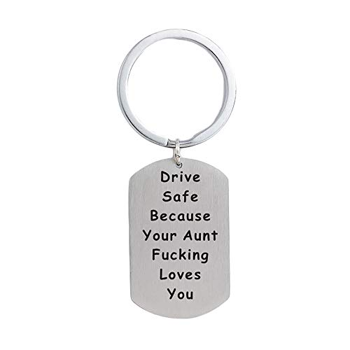 Hibetek Nephew Niece Gifts Keychain Driver Safe Keychain Because Your Aunt Fucking Love You Pendant Graduation Jewelry from Aunt (Silver Your Aunt Keychain)