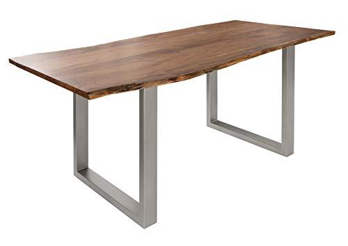 Table à manger 200x100cm - Bois d'acacia laqué (Bois naturel/Gris mat) - FREEFORM 3