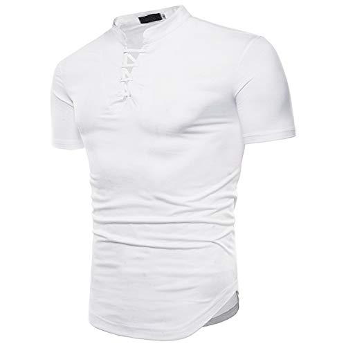 SSBZYES Camiseta para Hombre Camisetas De Manga Corta para Hombre Camisetas De Color Liso para Hombre con Corbata Cuello En V Camisetas De Manga Corta para Hombre De Moda