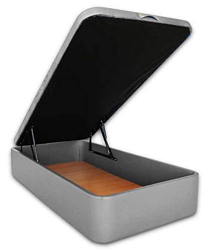 Ventadecolchones - Canapé Abatible Serena Gran Capacidad Tapizado en Polipiel Plata Medidas 105 x 190 cm en Tejido 3D
